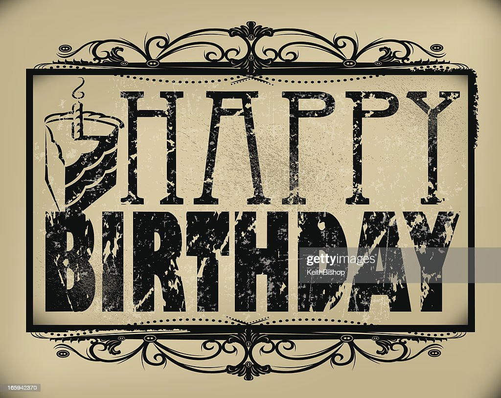Happy Birthday Wish With Cake Retro Background Vector Art Getty Images