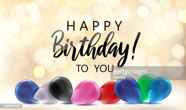 happy birthday with colorful balloons - happy birthday banner stock illustrations