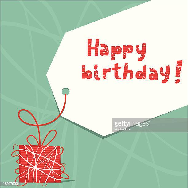 happy birthday wrapped gift - gift tag note stock illustrations, clip art, cartoons, & icons