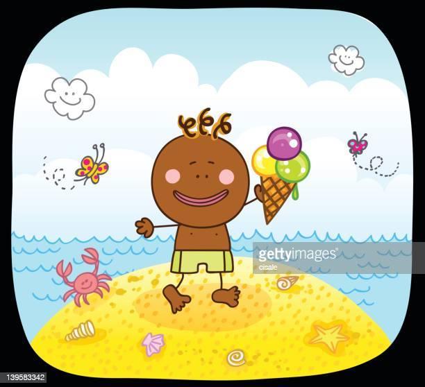 happy black boy and sea cartoon illustration