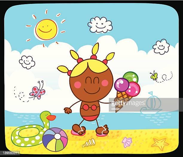happy black girl walking at beach cartoon