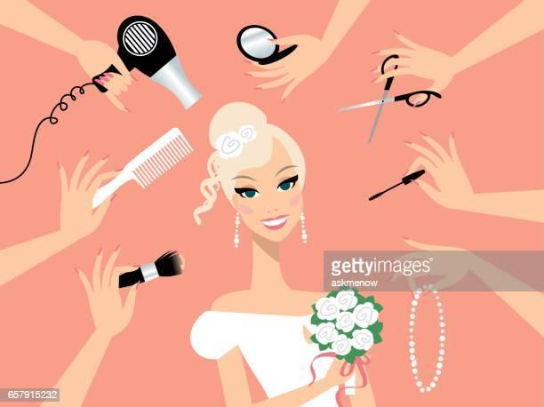 ilustrações de stock, clip art, desenhos animados e ícones de happy blond hair bride in a beauty salon - cortar cabelo