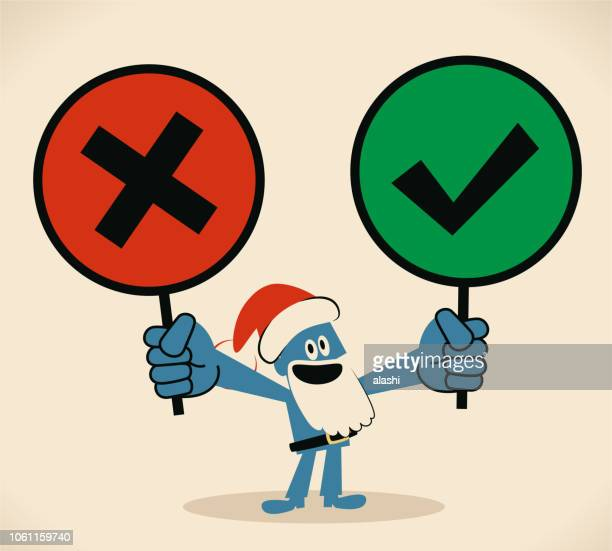 happy blue santa claus holding right and wrong sign (true-false question; yes-no question) - wrong way stock illustrations, clip art, cartoons, & icons