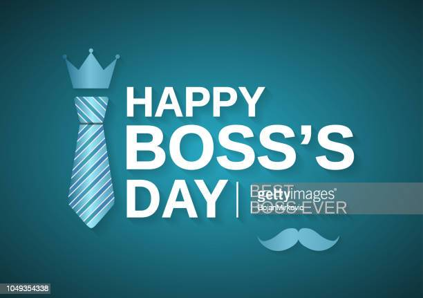 happy boss day poster, background with tie. best boss ever. vector illustration. - bossy stock illustrations