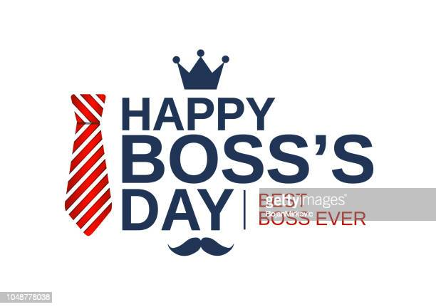 happy boss day white poster, banner or background with red striped tie. vector illustration. - day stock illustrations
