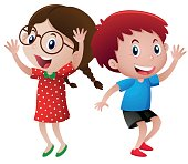 Happy boy and girl dancing