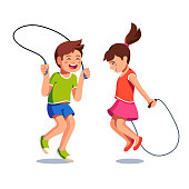 Happy boy and girl jumping up over skipping ropes. Joyful kids activity. Flat style vector