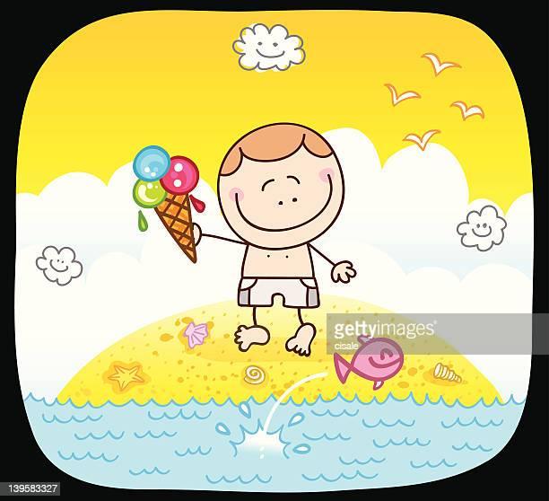 happy boy and summer sea cartoon illustration