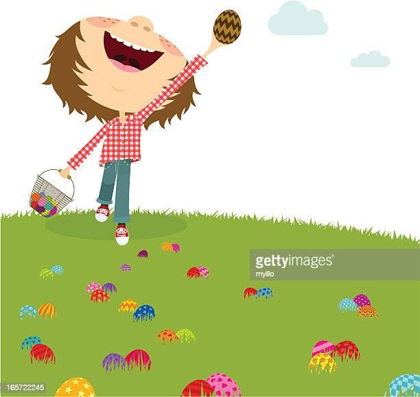 happy boy. easter egg hunt. kids party - easter egg hunt stock illustrations, clip art, cartoons, & icons