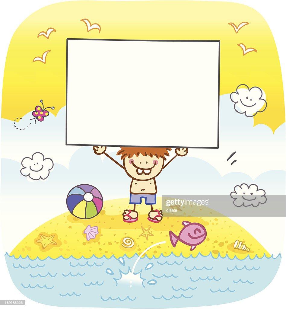 happy boy holding banner at beach cartoon illustration : stock illustration
