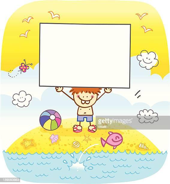 happy boy holding banner at beach cartoon illustration