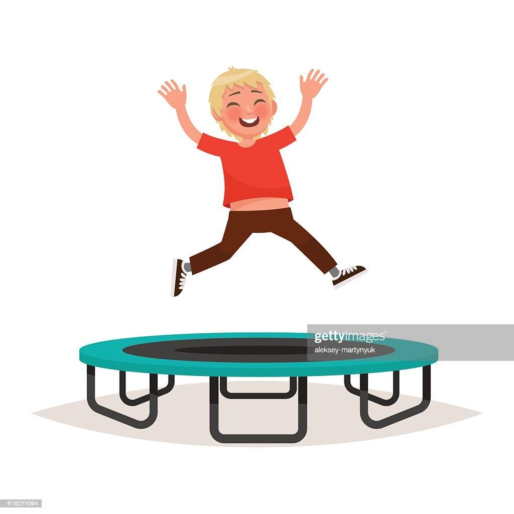 Happy boy jumping on a trampoline. Vector illustration : Vector Art