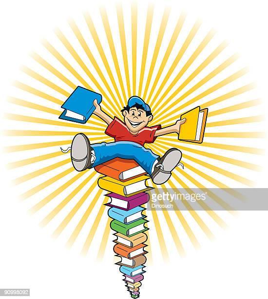 ilustraciones, imágenes clip art, dibujos animados e iconos de stock de niño feliz sentado sobre una pila de libros - personas leyendo la biblia