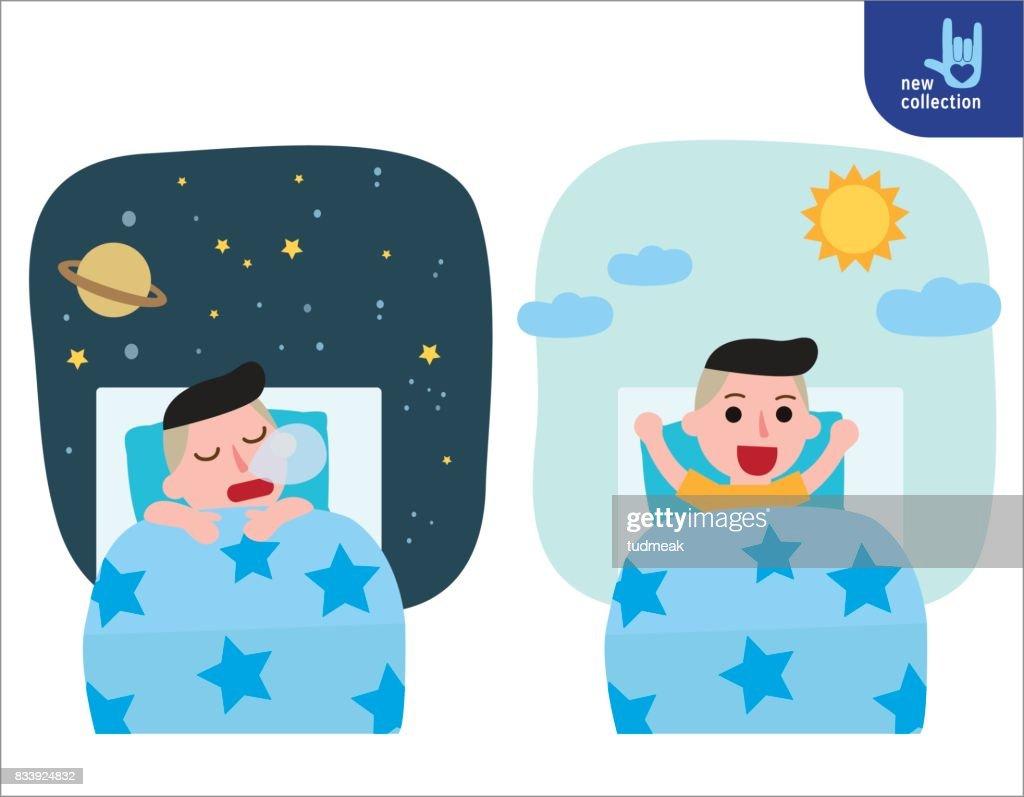 Frohlicher Junge Aufwachen Auf Dem Stretching Bett Und Schlafen