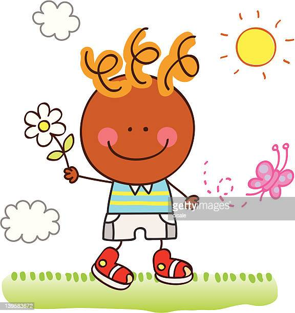 happy boy with flower and butterfly in nature cartoon illustration