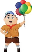 Happy boy with ice cream and balloons at the festival. vector illustration