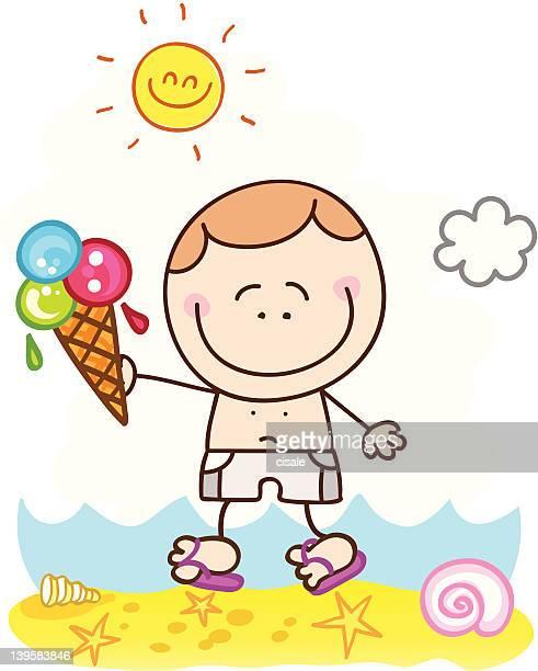 Niño feliz de historieta con icecream en la playa ilustración