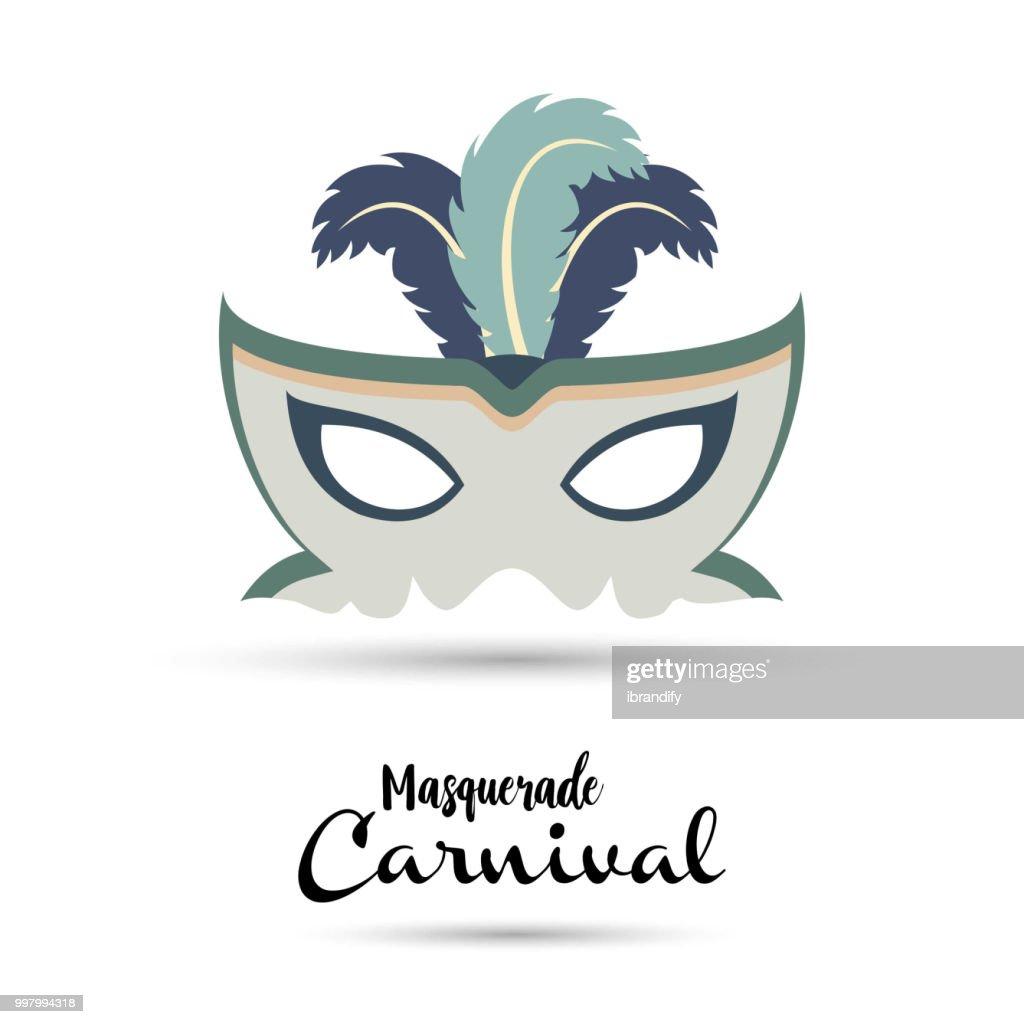 Happy Brazilian Carnival Day. bluish-grey carnival mask on white background