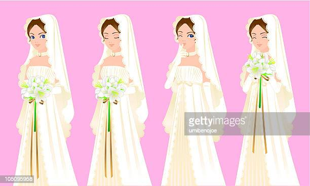 happy bride on marriage - easter lily stock illustrations