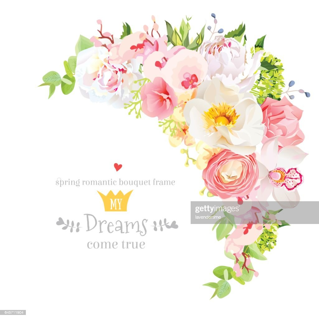 Happy bright floral vector frame with spring flowers.