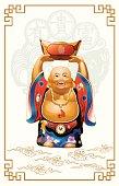 Happy Buddha Carrying Gold Money