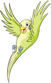 Happy Budgerigar Parrot Cartoon