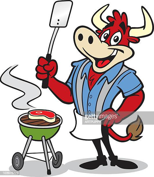 happy bull cooking at barbecue - funny bbq stock illustrations