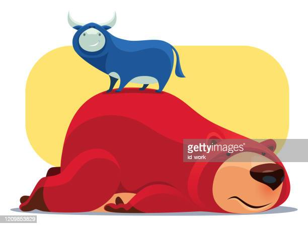 悲しいクマの上に立って幸せな雄牛 - 雄牛点のイラスト素材/クリップアート素材/マンガ素材/アイコン素材