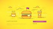 Happy Burger linear web-banner illustration