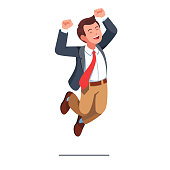 Happy business man celebrating victory jumping with raised hands vector clipart illustration