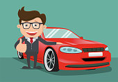 Happy business man  next to the red car. Vector illustration.