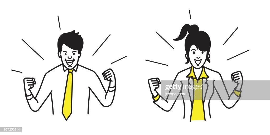 Happy businessman and woman holding fist