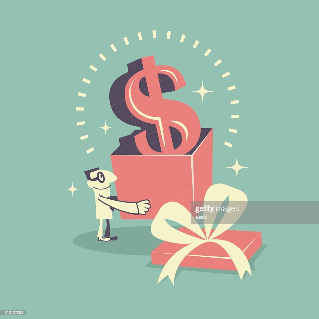 Happy businessman carrying (holding) gift box with Dollar currency sign