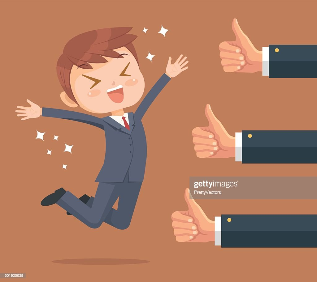 Happy businessman character and many hands