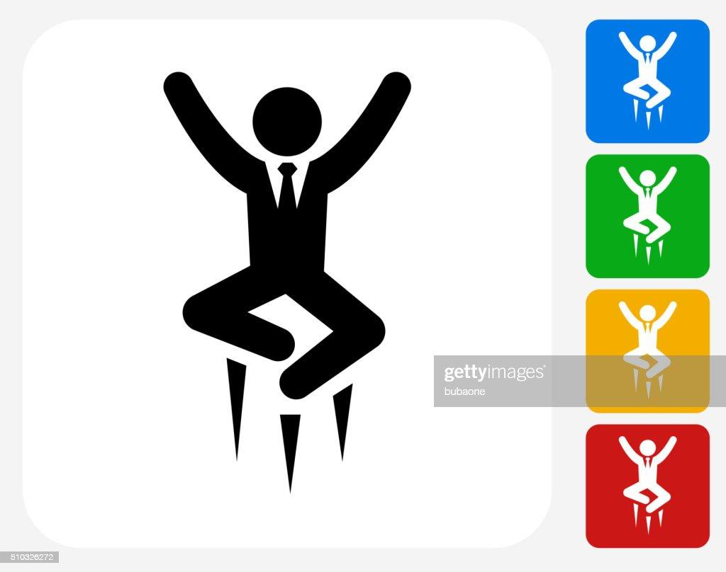 Happy Businessman Jumping Icon Flat Graphic Design
