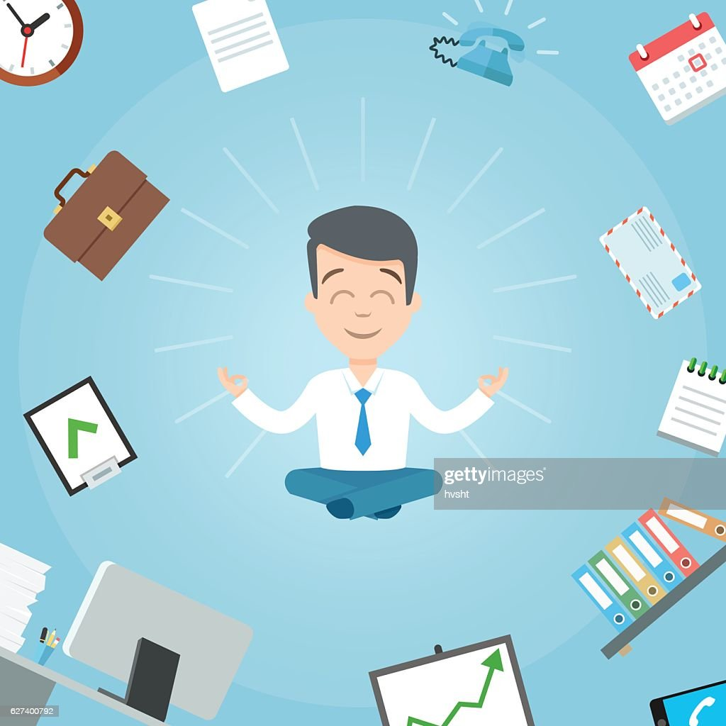 Happy businessman meditating in the office. Business yoga office