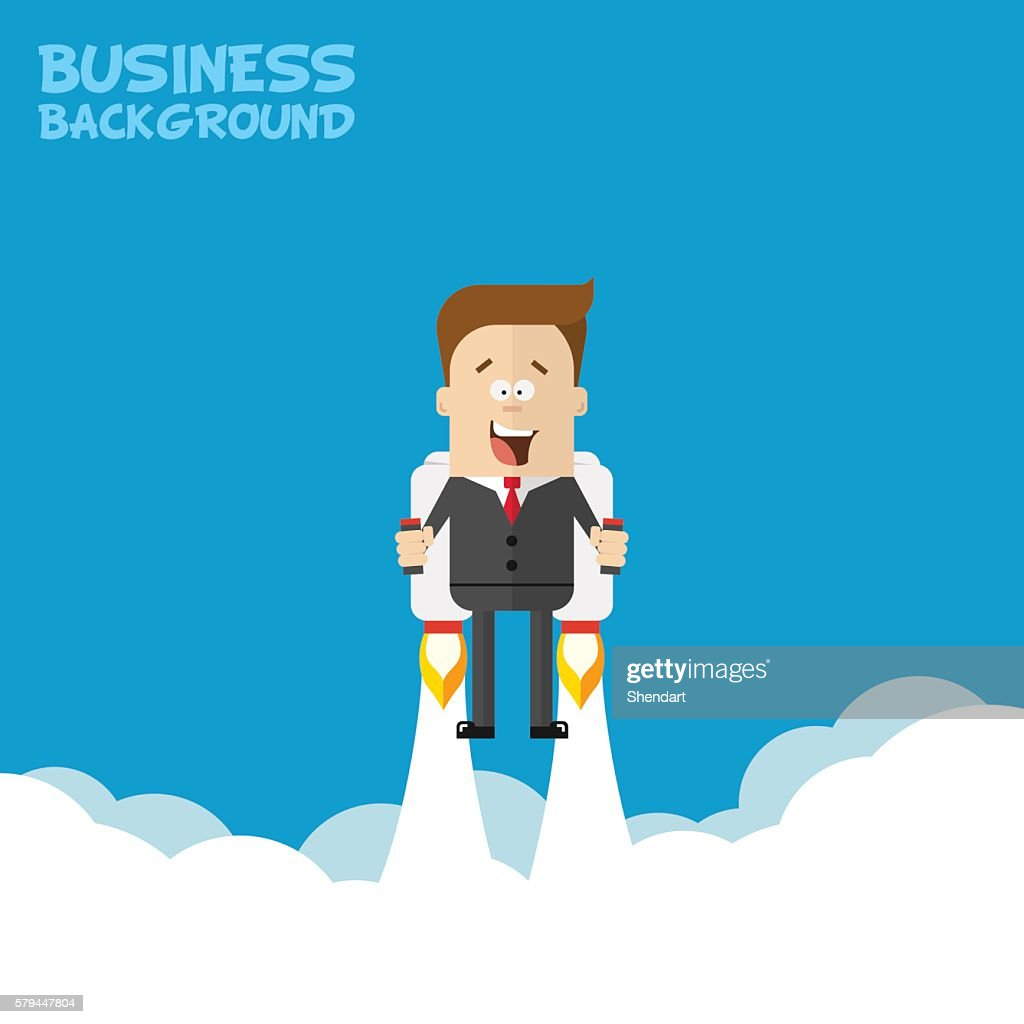 Happy businessman or manager flying on jetpacks to his goal