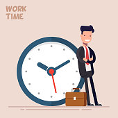 Happy businessman or manager is standing near a big clock. Vector illustration in a flat style. Concept of time management.