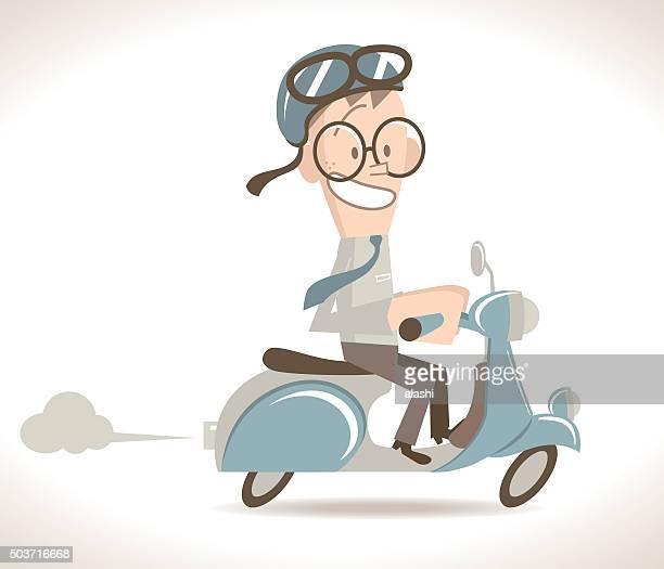 ilustrações, clipart, desenhos animados e ícones de feliz empresário dirigindo uma motocicleta (lambreta) com capacete meia - somente adultos
