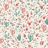 Happy cacti seamless pattern