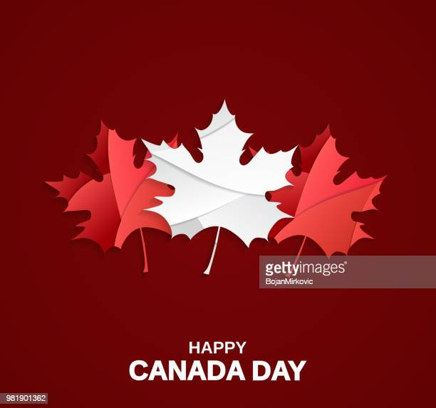 happy canada day card on red background with paper cut maple leafs. vector illustration. - canada day stock illustrations