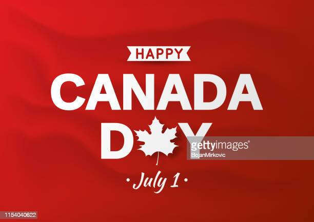 happy canada day card on red wavy background. vector illustration. - canada day stock illustrations