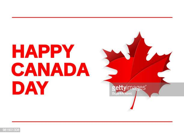 happy canada day card on white background with paper maple leaf. vector illustration. - maple leaf stock illustrations