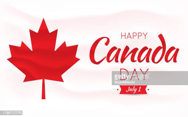happy canada day card, poster, background with mapple leaf. vector illustration. - canada day stock illustrations