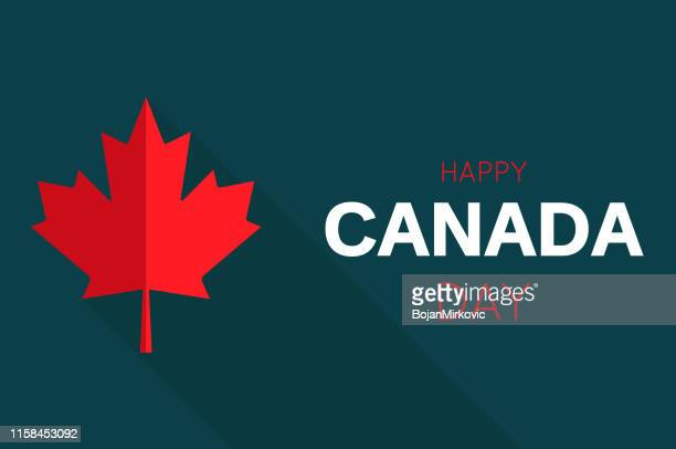happy canada day card with red maple leaf. vector illustration. - maple leaf stock illustrations