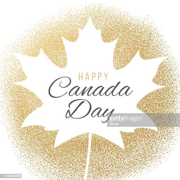 happy canada day greeting card. - canada day stock illustrations
