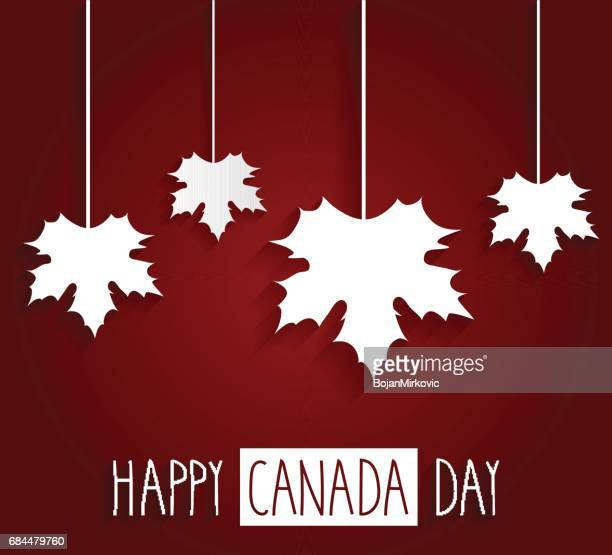 happy canada day handwritten text with hanging leafs - canada day stock illustrations