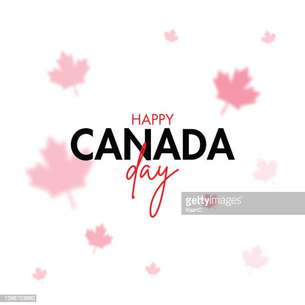 happy canada day, july 1 national holiday celebrate card with maple leaf symbol and hand lettering. stock illustration - canada day stock illustrations