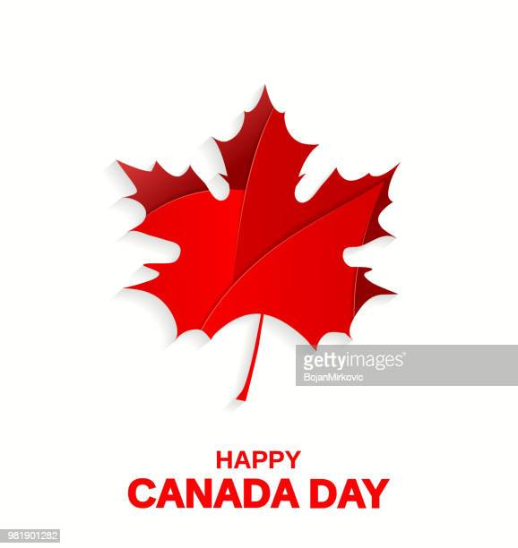 happy canada day poster. maple leaf on white background. vector illustration. - canadian flag stock illustrations