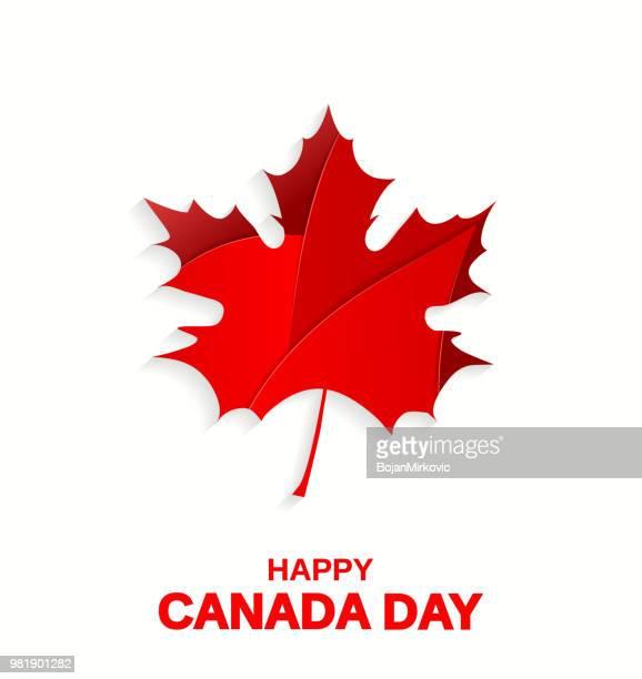 stockillustraties, clipart, cartoons en iconen met happy canada day poster. maple leaf op witte achtergrond. vectorillustratie. - esdoornblad